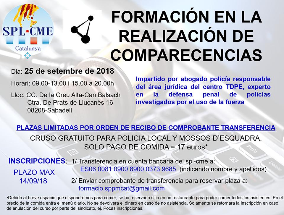SPL-CME: Curso «Formación en la Realización de comparecencias»