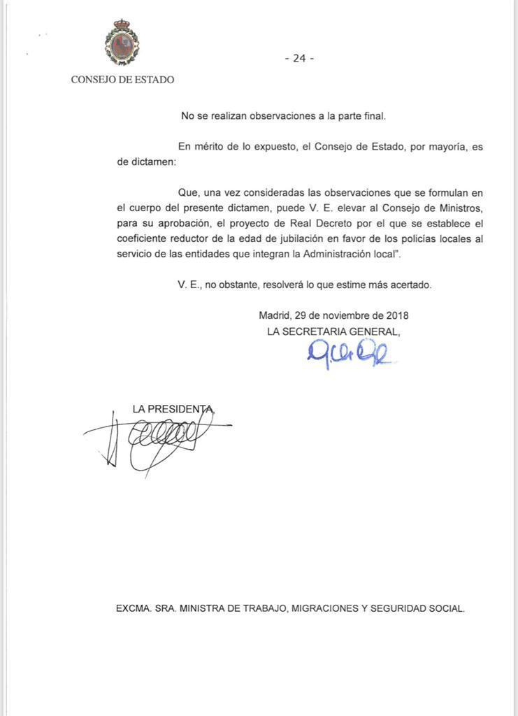 El Consejo de Estado emite su informe favorable a la jubilación anticipada