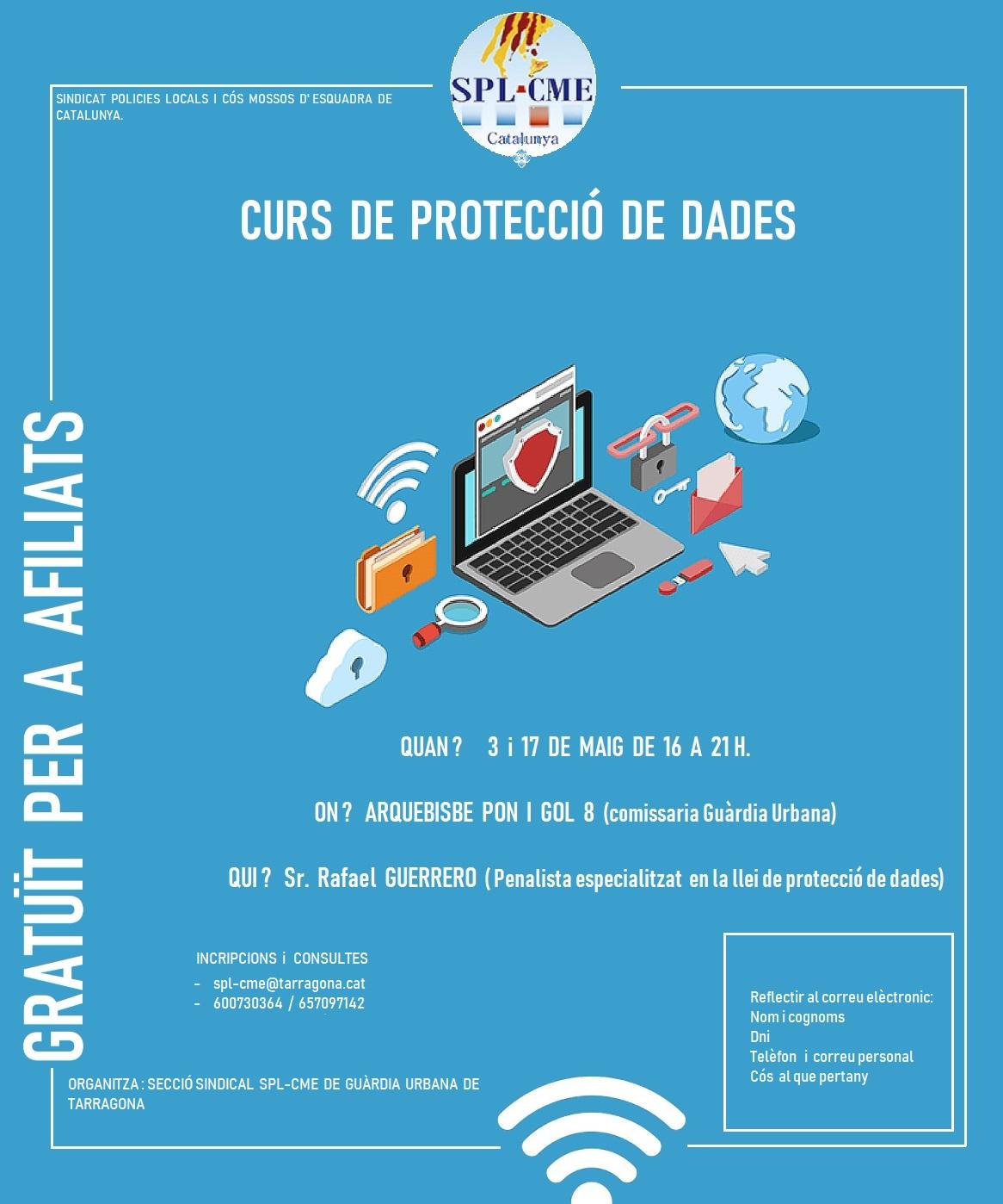 SPLCME, curs de Protecció de Dades, gratuït per a afiliats