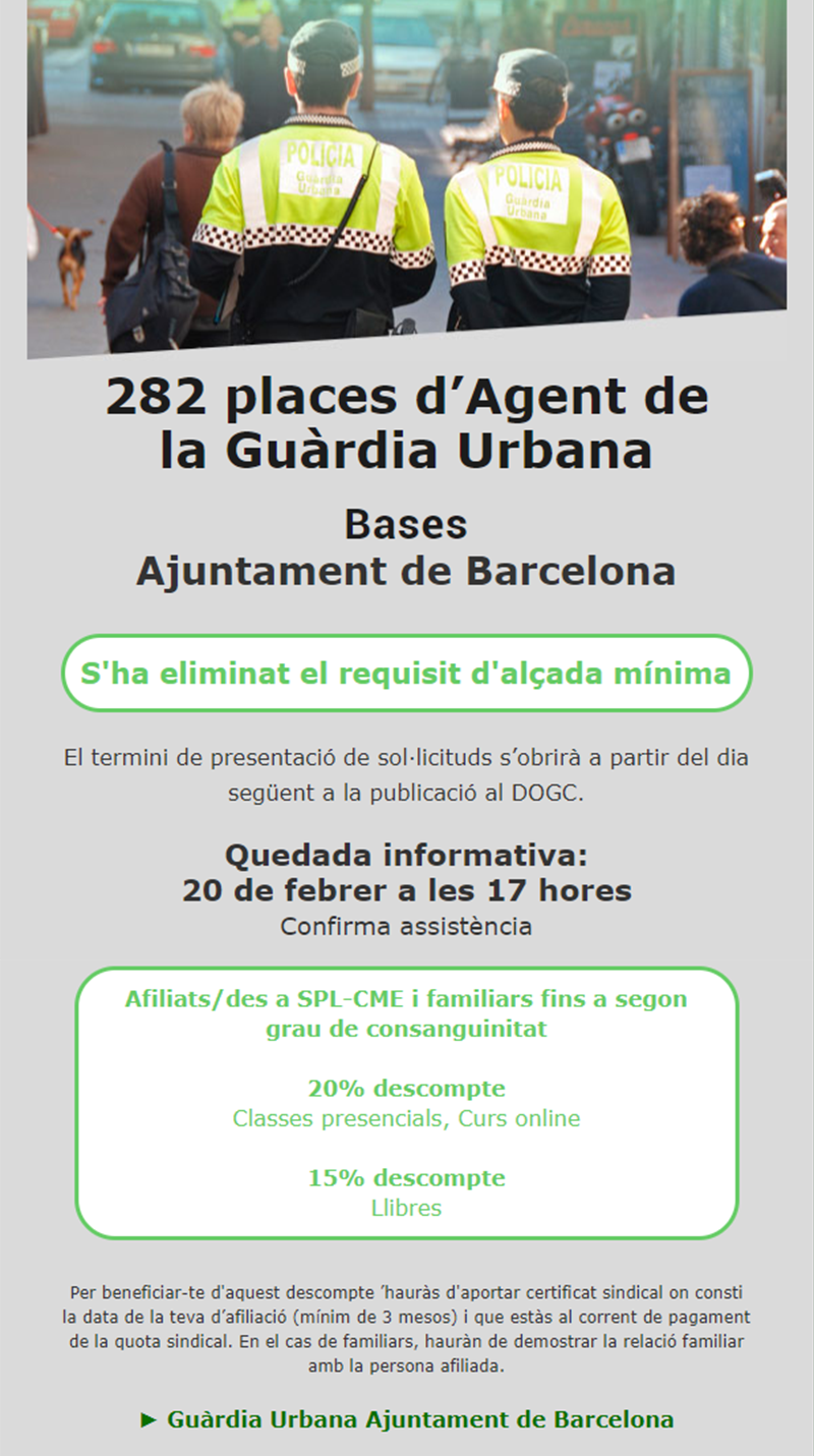 ADAMS-Preparació oposicions 282 places d'Agent de la Guàrdia Urbana de Barcelona
