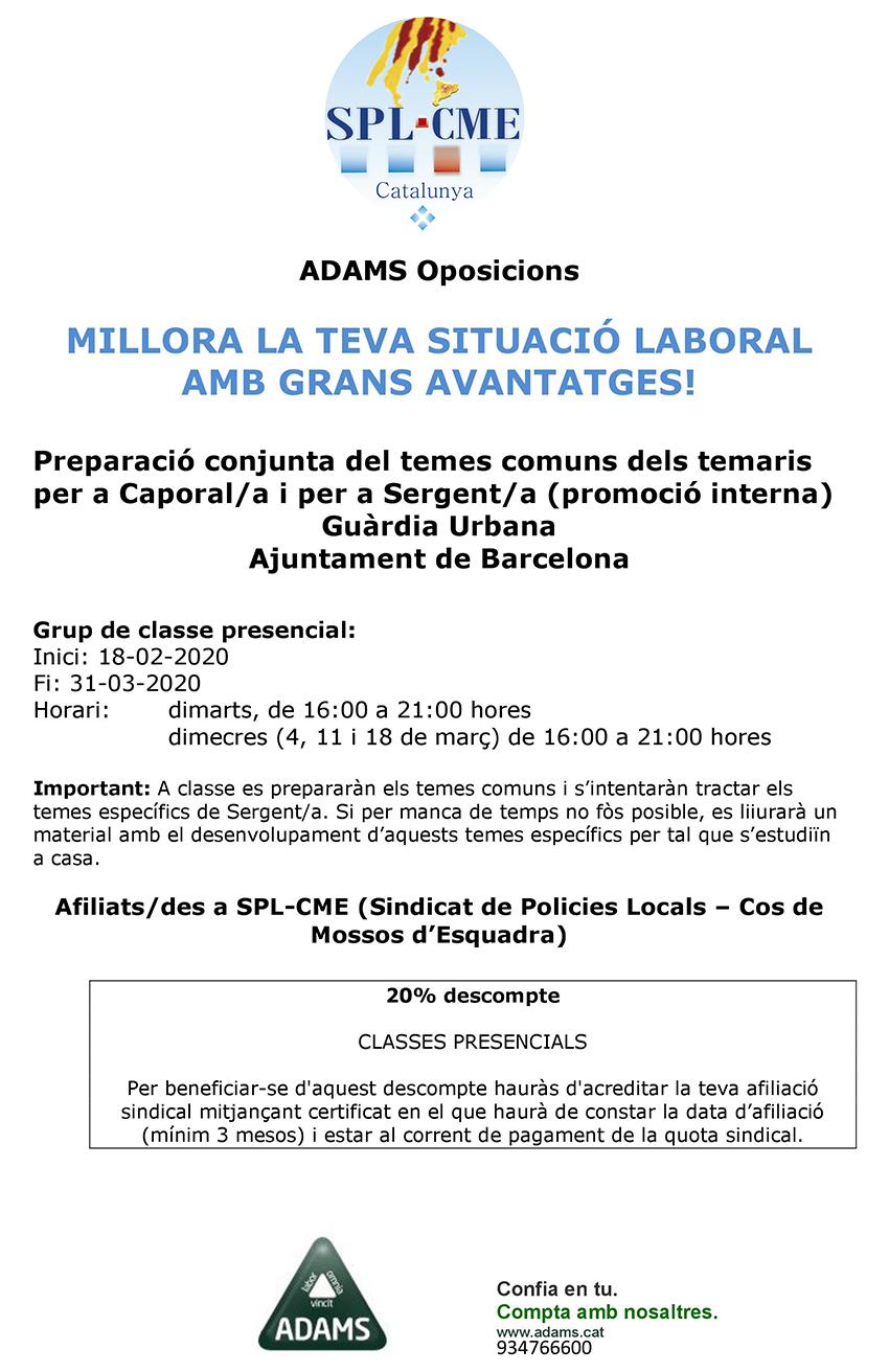 ADAMS-Preparació oposicions Guàrdia Urbana de Barcelona- Caporal/a i Sergent/a