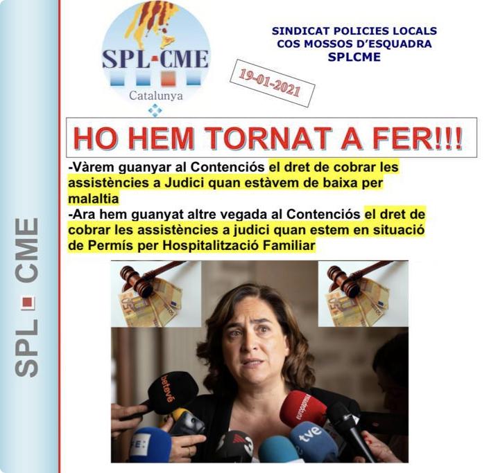 SENTENCIA SPLCME,  El Ayuntamiento de Barcelona, deberá abonar a un Guardia Urbano 91,12 € por asistencia a un juicio estando de permiso por hospitalización
