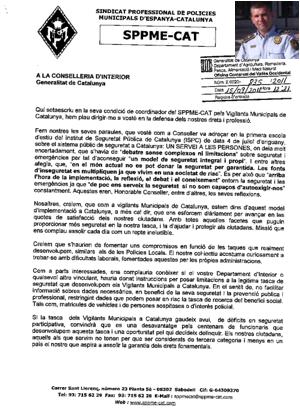 Escrit del Coordinador dels Vigilants Municipals del SPPME-CAT,al Conseller d'Interior