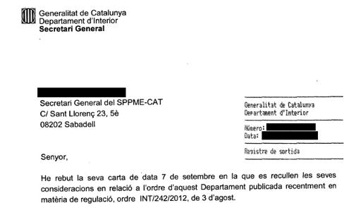Resposta Departament d´Interior sobre Ordre 242/2012